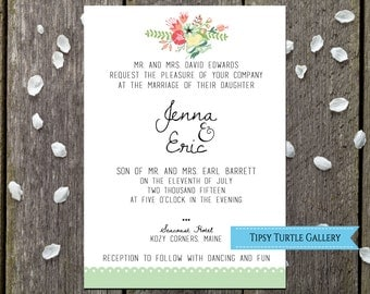 Printable Wedding, DIY Wedding, DIY Invite, modern wedding, country wedding, custom invitation, wedding printable, floral invitation