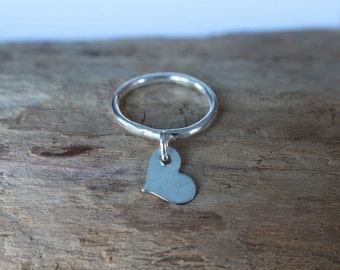 Floating Heart Sterling Silver Dangling Ring, Minimal Delicate Ring, Silver Stacking Ring, Heart Love