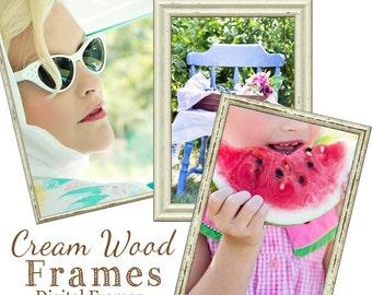 Cream wood Frames,  Digital Frames, psd Frames, Scrapbook Frames, Frame Clipart, Wooden Frames, Instant Download, Rustic Frames