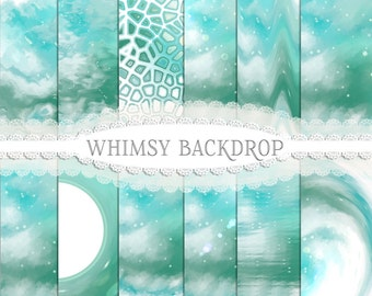 Whimsy Photography Backdrop/Papers - Green and Jade Backgrounds-  Instant Download, Printable paper, scrapbook paper