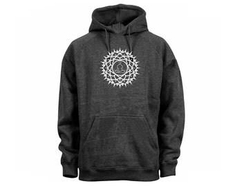 Lotus posture design man/women/teens dark heather gray pullover hoodie-yoga symbols wear