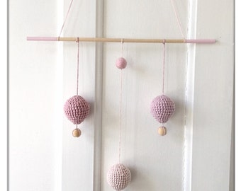 Baby room wall hanging, air balloon mobile, baby girl mobile, air balloon nursery, baby mobile, nursery decor, wall hanging, hot air balloon
