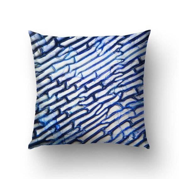 Blue Throw Pillow, Abstract Art, Photomicrography Art, Abstract blue, Microscopic Photo, Pillow Cover