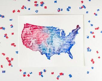 America Star Spangled Banner Calligraphy and Watercolor Print