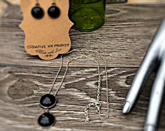Black Silver Necklace Earrings Set, Adjustable Pendant Necklace, Simple Black Everyday Jewelry, Gift for her, Handmade