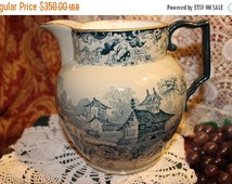 SALE Extremely Rare Mintons China Chinoiserie Transfer Pitcher Manufactured for Mortlock's Oxford Street Circa 1873-1912