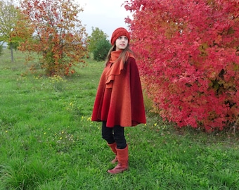 Poncho of red wool
