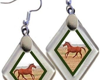 "Earrings ""Western Horse"" from rescued, repurposed window glass~Lightening landfills one tiny glass diamond at a time!"
