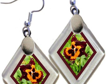 "Earrings ""Pansies"" from rescued, repurposed window glass~Lightening landfills one tiny glass diamond at a time!"