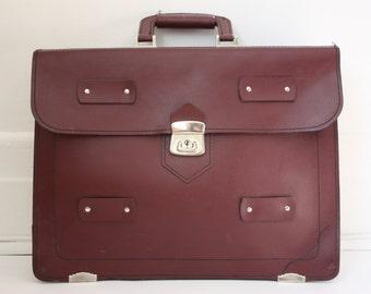 Vintage leather satchel bag; brown leather