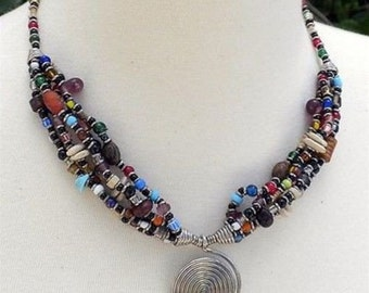 SPIRAL BEADED NECKLACE