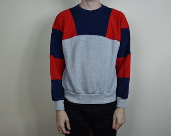 Vintage Colorblock Red and Blue Sweatshirt