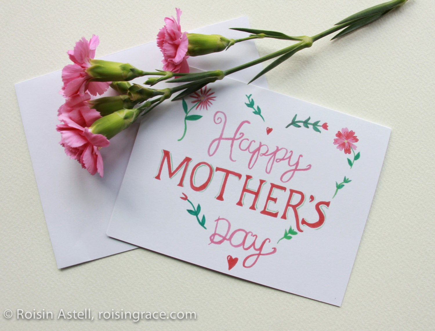 Etsy Happy Mother's Day hand-painted greeting card - original watercolour illustrated card