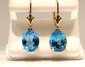 4.00 Carat Natural Blue Topaz Dangle Earrings in 14K Gold