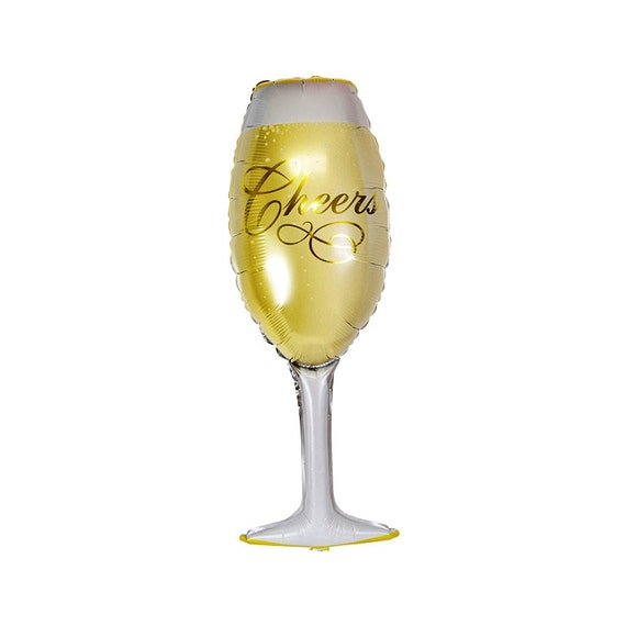 Champagne glass foil mylar balloon party decorations for Champagne balloon wall