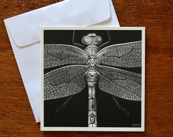 Dragonfly Card. Blank greeting card. Black & white. Scraperboard. 12.5cm x 12.5cm