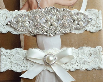Wedding Garter, Rhinestone and Crystal Garter Set, Ivory Lace Bridal Garter, Pearl Wedding Garter Set, Garter, Rhinestone Applique Garter