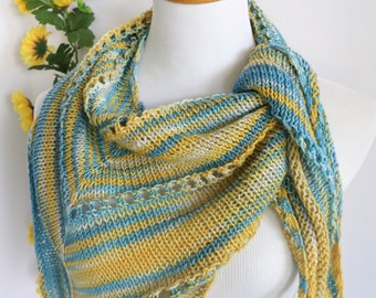 Merino wool triangle scarf, knit kerchief, blue, gold, yellow, small wrap, bandana style scarf
