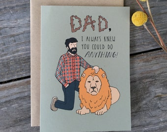 Funny Father's Day Card, Father's Day Card, Lion Card