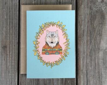Wolf Greeting Card, Wolf Card, Wolf Art