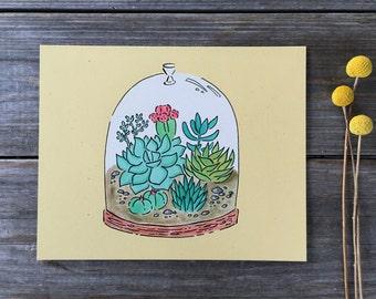 Terrarium Wall Art, Succulent Print, Cacti Print,