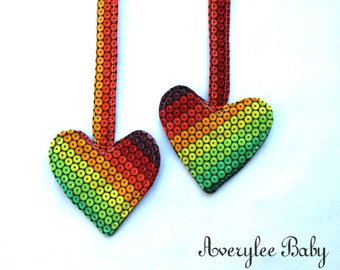 FLASH SALE, Gems Rainbow Heart Reach Straps, Snap On Reach Strap, Tula, Kinderpack, Baby Carrier Accessories