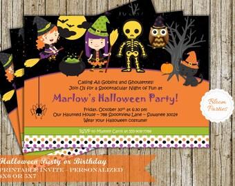 Halloween Party Invitation Trick or Treat Halloween Birthday Costume Party Invite Printable Digital DIY