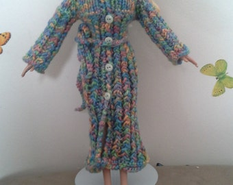 Melange hooded long sleeve pockets coat
