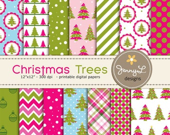 Christmas Trees Digital Papers, Christmas Papers, Christmas Star, Holiday Digital ScrapbookingPaper, Red and Green Christmas