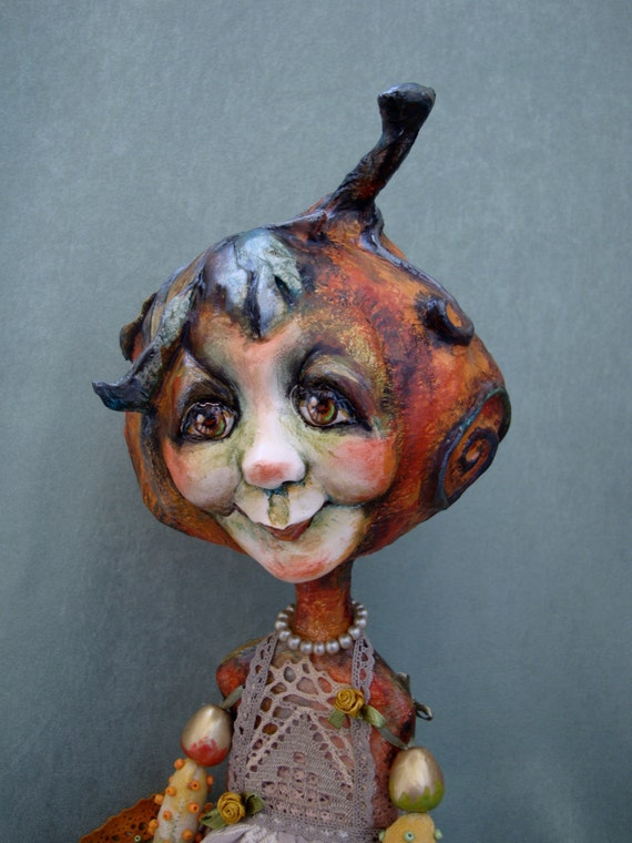 Pumpkin House Wife doll - Autumn pumpkin art interior doll - Ooak poseable Halloween doll - Pumpkin collectible figurine as gift