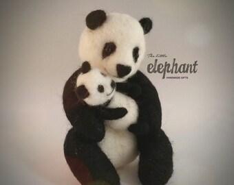 Needle Felt Panda with baby