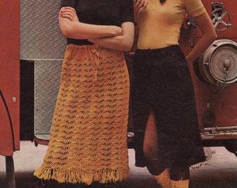 Crochet Pattern PDF,  2 Skirt Patterns, Crochet Skirt Pattern, Instant Download, Vintage Crochet Pattern, Boho, Crochet Skirt, 1960's