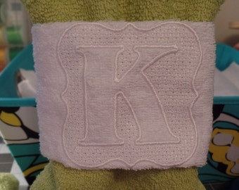 "Monogram hand towel wrap/Monogrammed towel/bathroom towels/towel wrap, 4"" Framed embossed pattern"