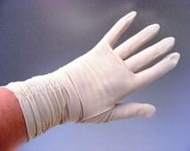 Vintage longer length sheer gloves, buff colour