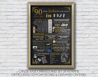 Personalized 90th Birthday Poster Art, 1927 Digital Chalkboard, 1927 Events, Milestone Birthday, anniversary  - High Resolution Digital File