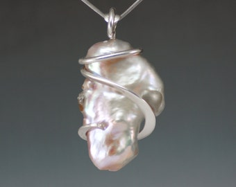 Large White Biwa Pearl Forged Sterling Silver Pendant