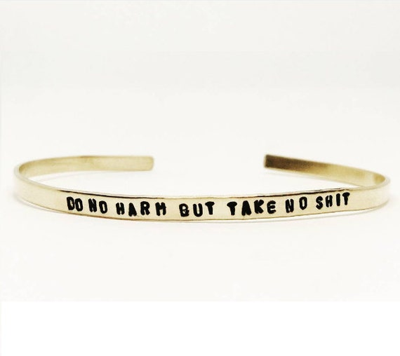 DO NO HARM Skinny Cuff // Bohemian + Statement + Strong + Feminist + Valentine's Day Handstamped Featherweight Layering Bracelet