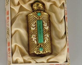 Vintage Bohemian Czech filigree perfume bottle with malachite jade glass jewels