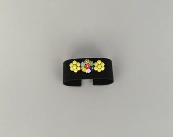 Vintage Bohemian Art Nouvea Brooch - Glass Flowers