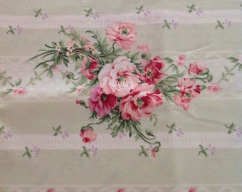 Barefoot Roses by Tanya Whelan, Grand Revival for Free Spirit, Green and White Fabric with Pink Roses, Fabric by the Yard