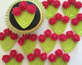 BUNCHES RED ROSES handmade edible sugar paste cupcake decorations toppers