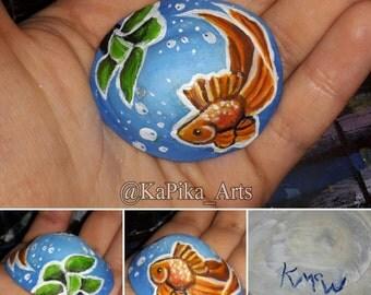 Goldfish & anubias painting on Irish limpet shell