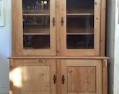 Antique Victorian Pine Glazed Dresser Bookcase Linen Cupboard Kitchen Unit Display Cabinet