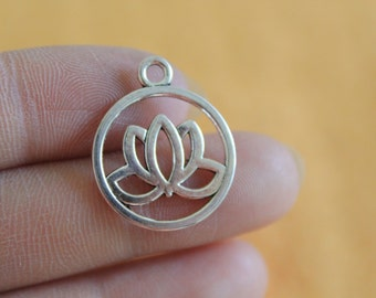 Flower charms Antique Silver Lotus Charms double sided 20x24mm