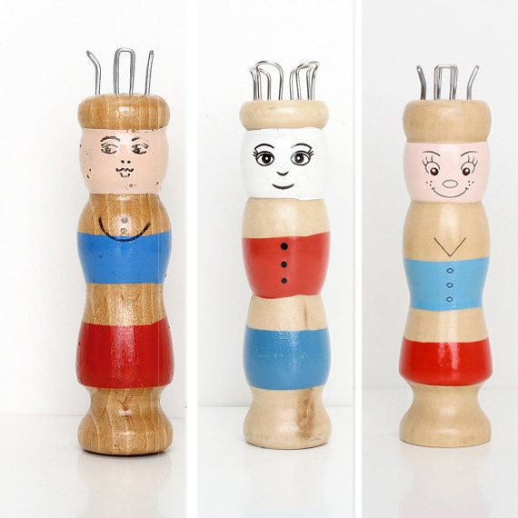 Wooden Knitting Doll : Vintage wooden knitting doll toy french