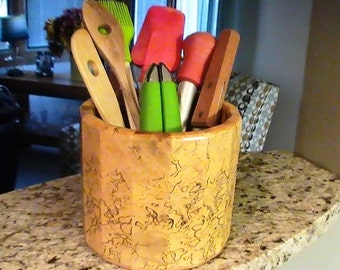 Kitchen Utensil Holder Made of Spalted Sycamore