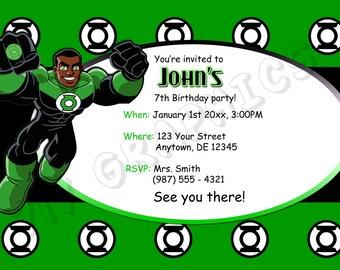 Green Lantern Birthday Invitation - Printable