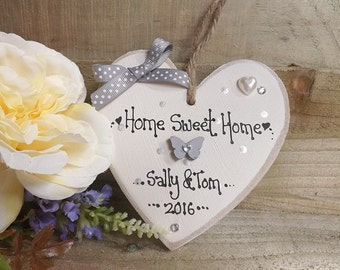 Personalised new home housewarming heart home sweet home plaque sign