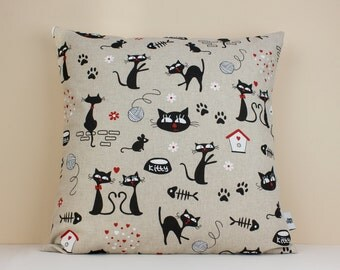 Cat Cushion Cover - Cat linen cushion cover - Cat Linen Pillow Case - Decorative Cushion Case - Linen Pillow Cover - Linen Home Decor