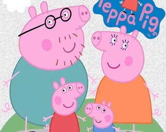 159 Peppa Pig Clip Art  -INSTANT DOWNLOAD -FOR cards, scrapbooking,digital art, printing, birthdays, party decor,invitation